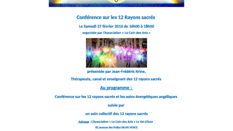 Conférence sur les 12 Rayons Sacrés le 27 février à Vence dans le 06