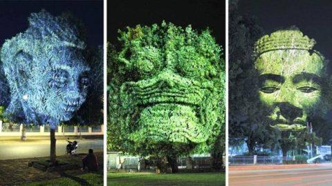 Un artiste projette des esprits cambodgiens pour illuminer la nuit